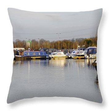 Various Boats At Barton Marina Throw Pillow by Rod Johnson