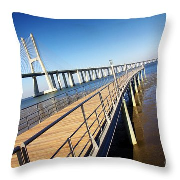 Vasco Da Gama Bridge Throw Pillow by Carlos Caetano