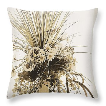 Vase With Flowers On A Window Table Throw Pillow
