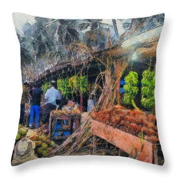 Vegetable Sellers Throw Pillow
