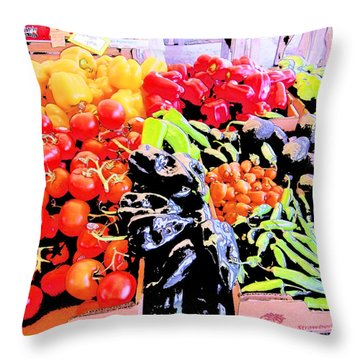 Vegetables On Display Throw Pillow by Kym Backland