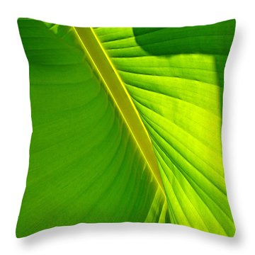 Veins Of Green Throw Pillow by Nick Kloepping