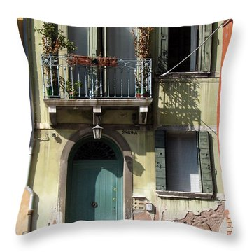 Throw Pillow featuring the photograph Venetian Doorway by Carla Parris