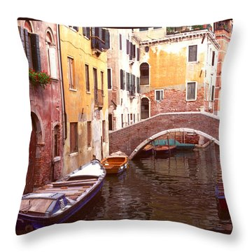 Venice Bridge Over A Small Canal. Throw Pillow by Tom Wurl