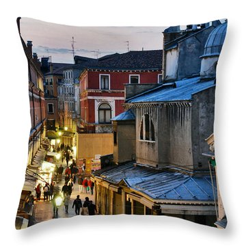 Venice From Ponte Di Rialto Throw Pillow