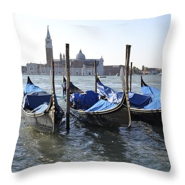 Throw Pillow featuring the photograph Venice Gondolas by Rebecca Margraf