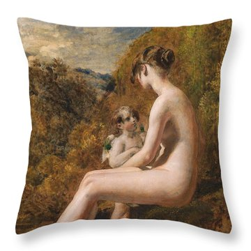 Venus And Cupid  Throw Pillow by William Etty
