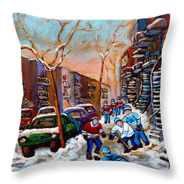 Verdun Montreal Hockey Game Near Winding Staircases And Row Houses Montreal Winter Scene Throw Pillow by Carole Spandau