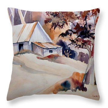 Vermont Sugar Shack Cabin In Winter Throw Pillow by Carole Spandau