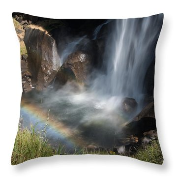 Vernal Falls Rainbow On Mist Trail Yosemite Np Throw Pillow