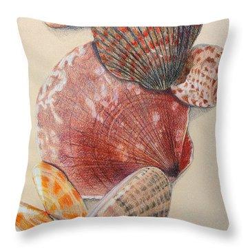 Vertical Clam Shells Throw Pillow