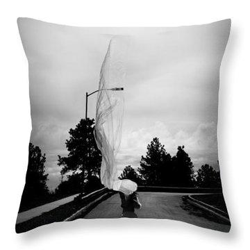 Vertical Cloth Wind  Throw Pillow by Scott Sawyer