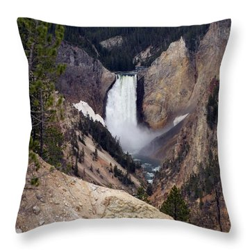 Throw Pillow featuring the photograph Vertical Lower Falls Of Yellowstone by Living Color Photography Lorraine Lynch