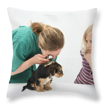 Vet Using An Otoscope To Examine A Pups Throw Pillow by Mark Taylor