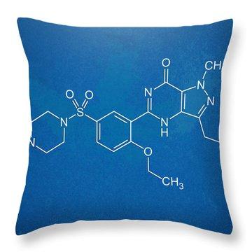 Viagra Molecular Structure Blueprint Throw Pillow by Nikki Marie Smith