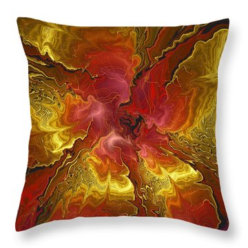 Vibrant Red And Gold Throw Pillow by Deborah Benoit