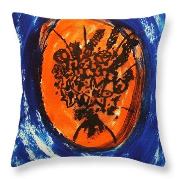 Throw Pillow featuring the painting Victorian Contemporary Flowers In Blue And Orange Vortex Swirls Acrylic Monoprint Serigraph by M Zimmerman