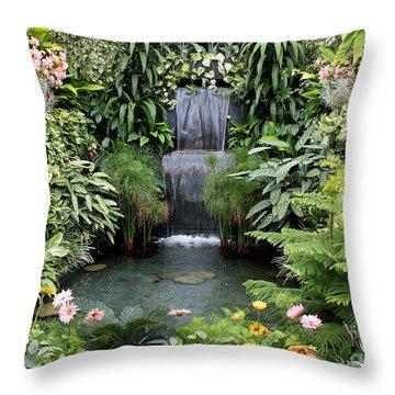 Victorian Garden Waterfall - Digital Art Throw Pillow by Carol Groenen