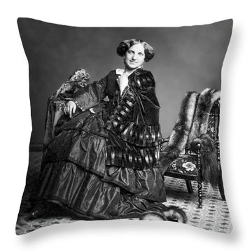 Victorian Woman With Furs C. 1853 Throw Pillow by Daniel Hagerman