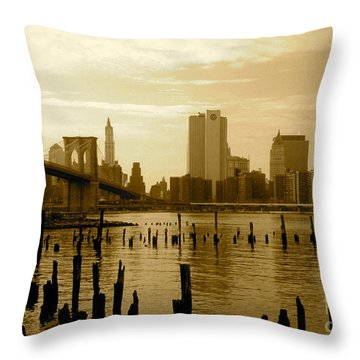View From Brooklyn Bridge Park Throw Pillow by Mark Gilman