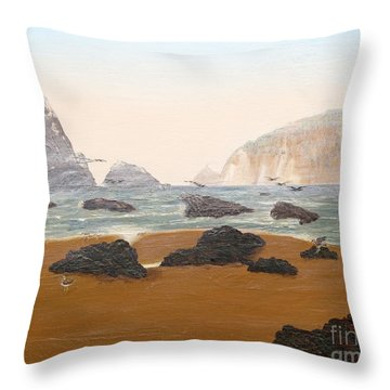 View From Luffenholtz Beach Throw Pillow