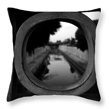 Throw Pillow featuring the photograph View From The Bridge by Nina Prommer