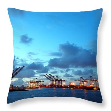 View Of Kaohsiung Harbor At Dusk Throw Pillow by Yali Shi