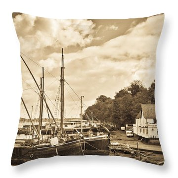 View Of Pin Mill From King's Yard Sepia Throw Pillow by Gary Eason