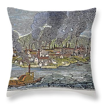 View Of Pittsburgh, 1836 Throw Pillow by Granger
