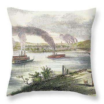 View Of Pittsburgh, 1853 Throw Pillow by Granger