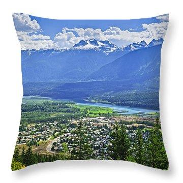 View Of Revelstoke In British Columbia Throw Pillow