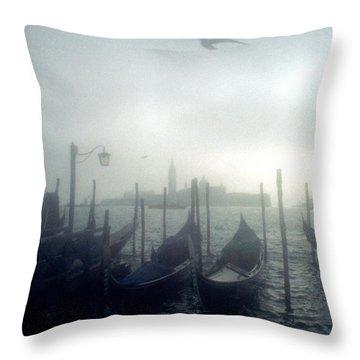 View Of San Giorgio Maggiore From The Piazzetta San Marco In Venice Throw Pillow by Simon Marsden