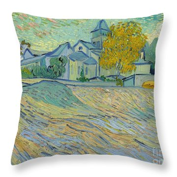 View Of The Asylum And Chapel At Saint Remy Throw Pillow by Vincent Van Gogh