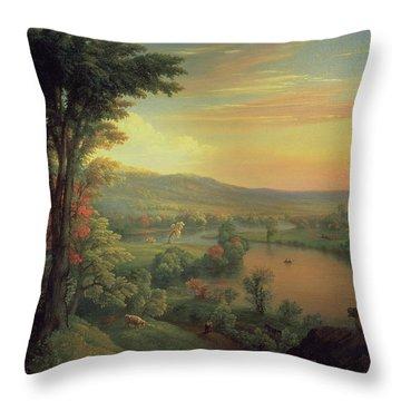 View Of The Mohawk Near Little Falls Throw Pillow by Mannevillette Elihu Dearing Brown