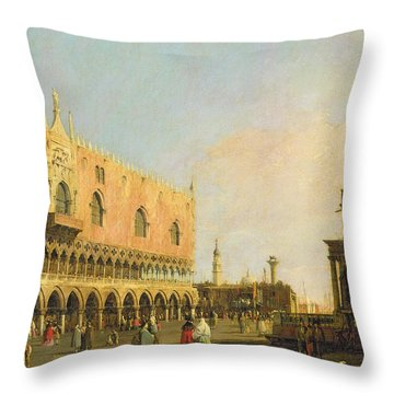 View Of The Piazzetta San Marco Looking South Throw Pillow by Canaletto