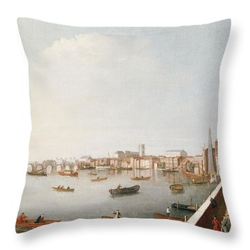 View Of The River Thames From The Adelphi Terrace  Throw Pillow by William James