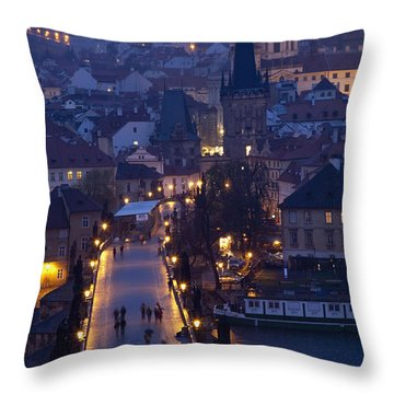 View Over The Charles Bridge Towards Throw Pillow by Axiom Photographic
