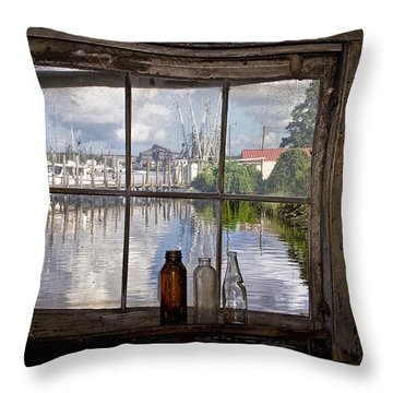 View Through Fish House Window Throw Pillow by Sandra Anderson