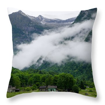 Village In The Alps Throw Pillow