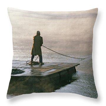 Villager On Raft Crosses Lake Phewa Tal Throw Pillow by Gordon Wiltsie