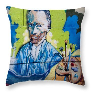 Throw Pillow featuring the digital art Vincent On The Wall by Carol Ailles