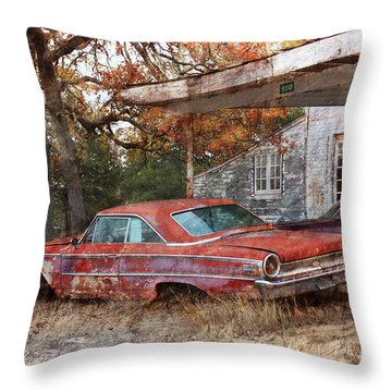 Vintage 1950 1960 Ford Galaxy Red Car Photo Throw Pillow by Svetlana Novikova
