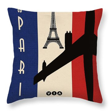 Vintage Air Travel Paris Throw Pillow by Cinema Photography