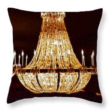 Vintage Ballroom Chandalier Fractal Throw Pillow by Darleen Stry