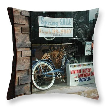 Vintage Bicycle And American Junk  Throw Pillow by Anna Ruzsan