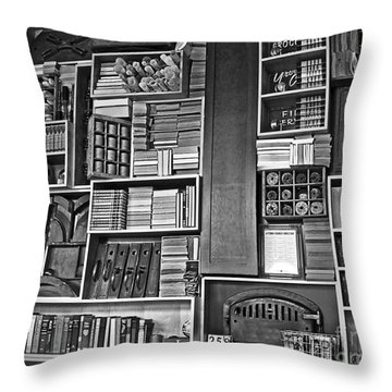 Vintage Bookcase Art Prints Throw Pillow by Valerie Garner
