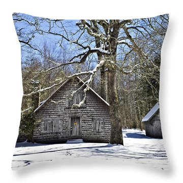 Vintage Buildings In The Winter Snow Throw Pillow by Susan Leggett