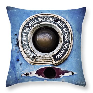Vintage Detail Of A Gas Pump Throw Pillow by Priska Wettstein