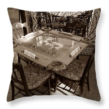 Vintage Domino Table Throw Pillow by David Lee Thompson