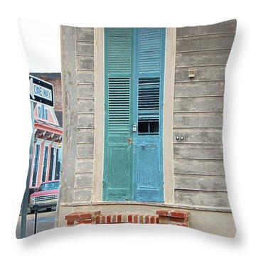 Vintage Dual Color Wooden Door And Brick Stoop French Quarter New Orleans Accented Edges Digital Art Throw Pillow by Shawn O'Brien